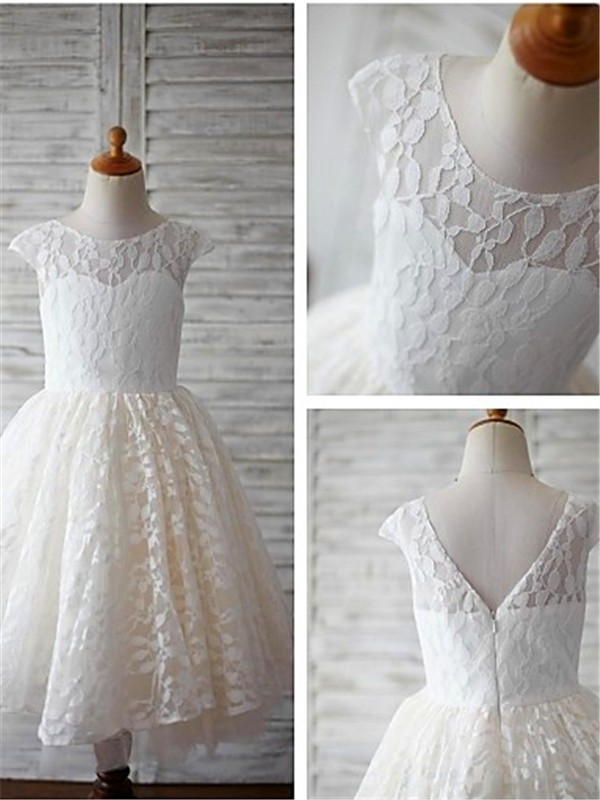 A-line/Princess Scoop Short Sleeves Tea-Length Lace Baby Girl Dresses