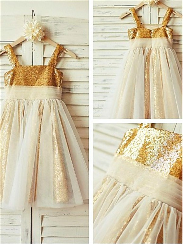 A-line/Princess Spaghetti Straps Ruffles Tea-Length Sequins Baby Girl Dresses