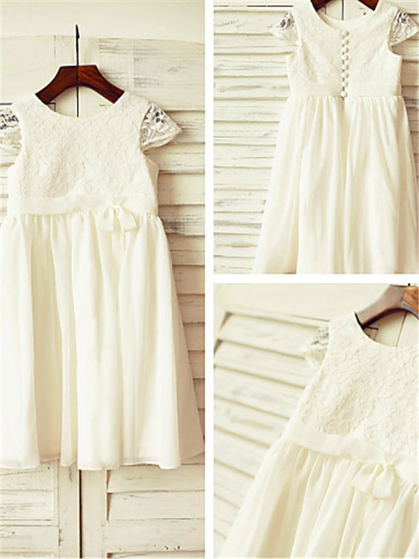 A-line/Princess Scoop Short Sleeves Lace Tea-Length Chiffon Baby Girl Dresses