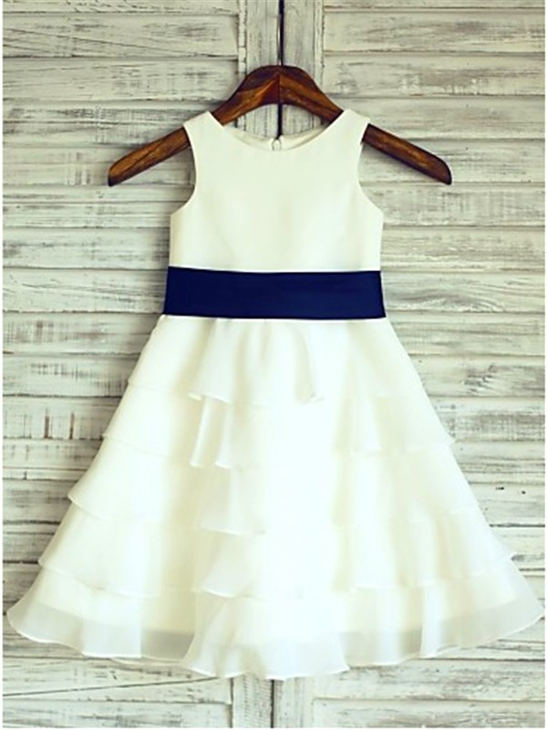 A-line/Princess Scoop Ruffles Tea-Length Chiffon Baby Girl Dresses