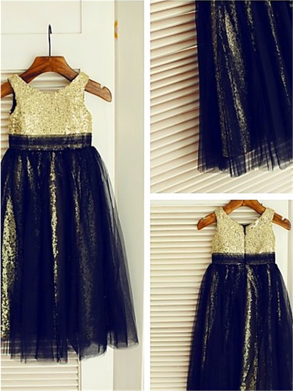 A-line/Princess Scoop Sequin Tea-Length Tulle Baby Girl Dresses