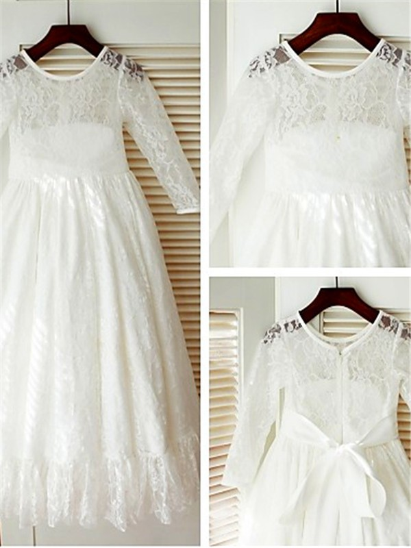 A-line/Princess Scoop Bowknot Floor-Length Flower Girl Dress with Lace