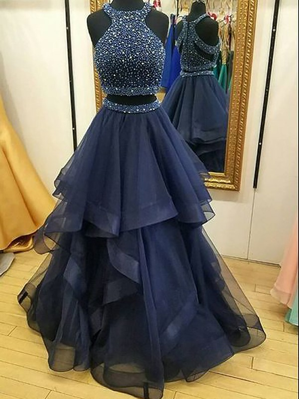 A-Line/Princess Sleeveless Halter Net Beading Floor-Length Two Piece Prom Gowns
