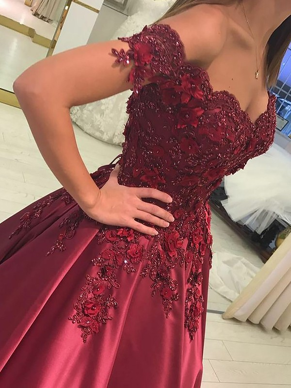 Ball Gown Sleeveless Off-the-Shoulder Applique Satin Floor-Length Prom Gowns