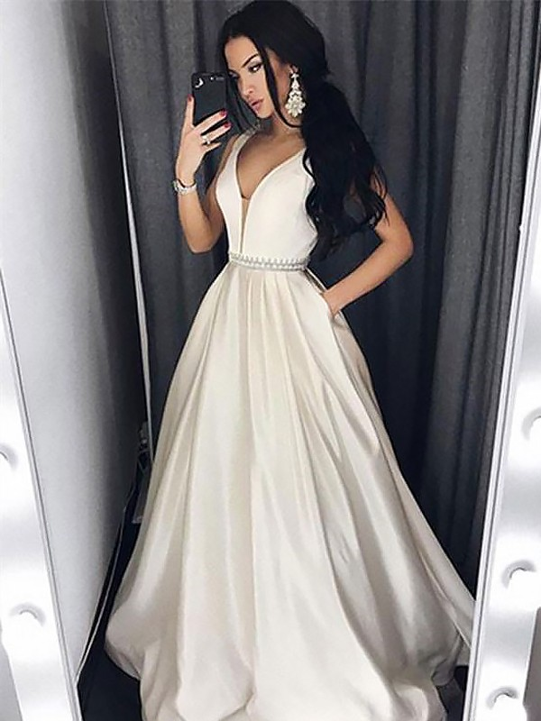 A-Line/Princess V-neck Sleeveless Sweep/Brush Train Beading Satin Dresses