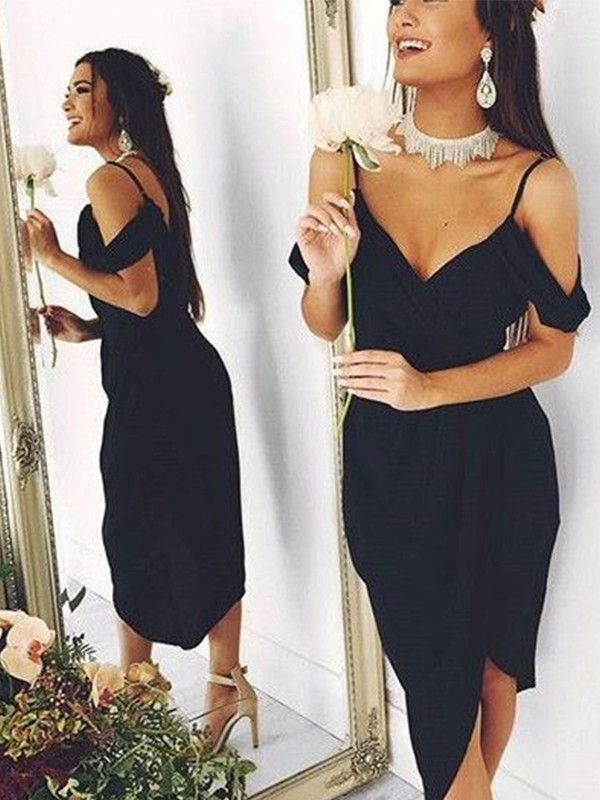 Sheath/Column Spaghetti Straps Spandex Asymmetrical Short Sleeves Dresses