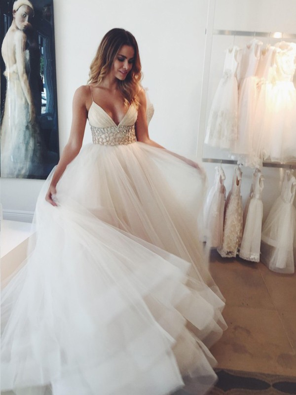 Ball Gown Spaghetti Straps Sleeveless Crystal Court Train Tulle Wedding Gown