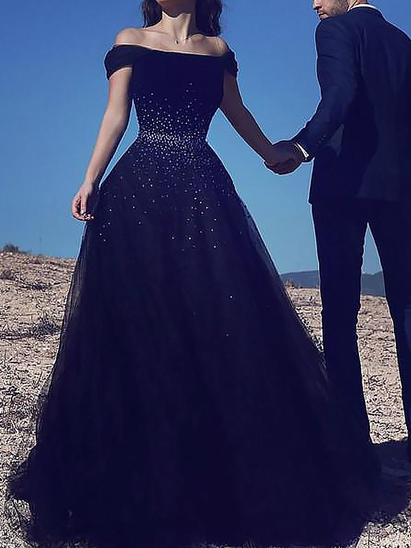 Ball Gown Sleeveless Off-the-Shoulder Beading Floor-Length Tulle Prom Gowns