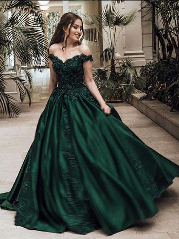 Ball Gown Off-the-Shoulder Sleeveless Floor-Length Lace Satin Prom Gowns