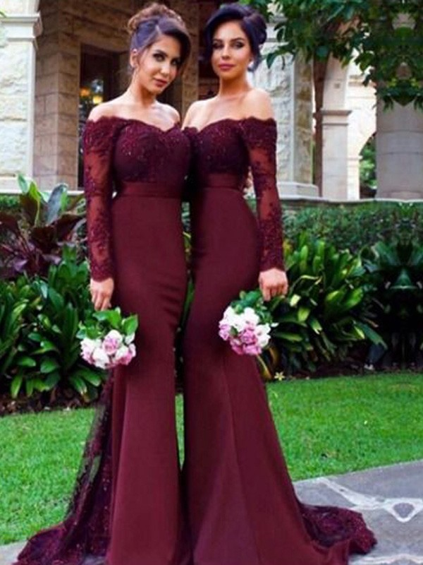 Trumpet/Mermaid Off-the-Shoulder Long Sleeves Satin Sweep/Brush Train Bridesmaid Dress