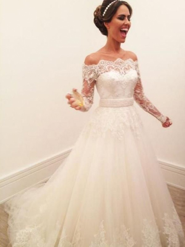 A Lineprincess Long Sleeves Off The Shoulder Lace Sweepbrush Train Tulle Wedding Dress