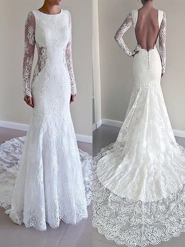 Trumpet/Mermaid Scoop Long Sleeves Court Train Lace Wedding Dresses ...