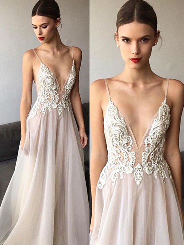 e015c6693c6 A-Line Princess Sleeveless V-neck Sweep Brush Train Spaghetti Straps Lace