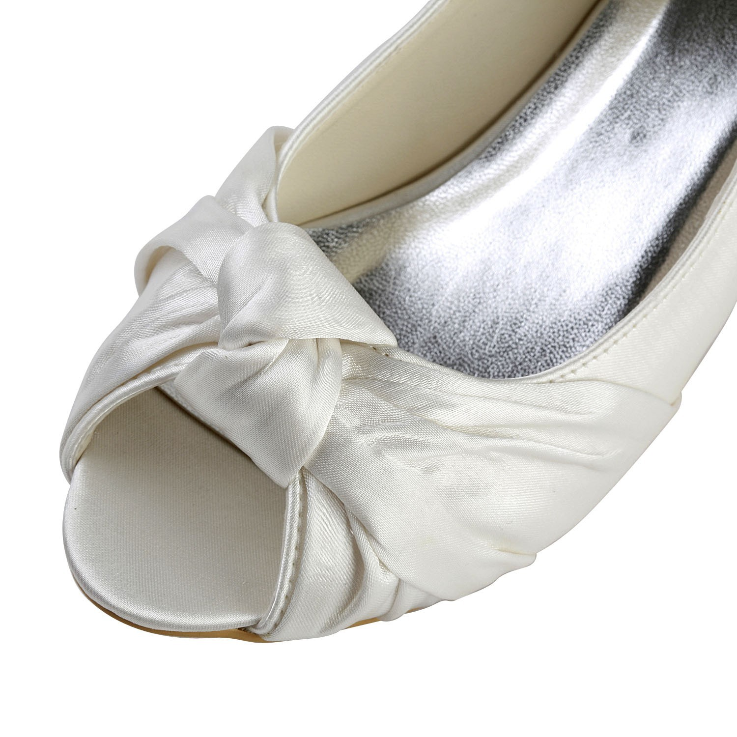 Satin Low Heel P Toe Sandals Wedding Shoes With Bowknot 6 Jpg