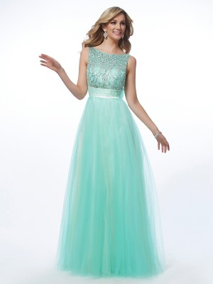 A Line Princess Bateau Beading Floor Length Net Evening Gown