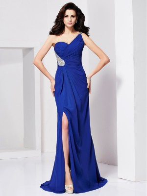A Line Princess Beading One Shoulder Pleats Sweep Brush Train Evening Gown