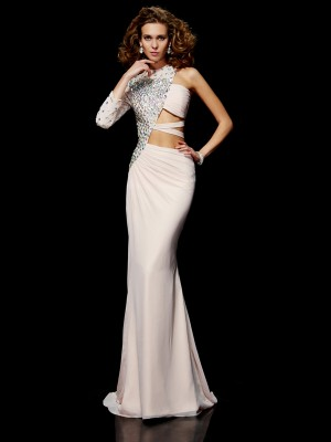 Column long Sleeves One Shoulder Sweep Brush Train Chiffon Prom Dress