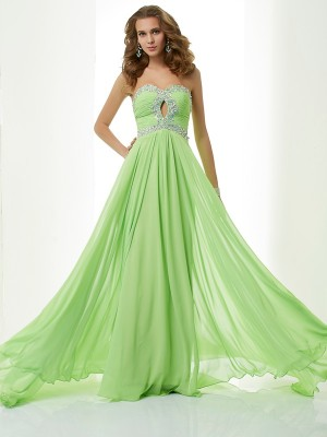 A Line Princess Sweetheart Beading Sweep Brush Train Chiffon Prom Dress