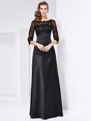 A Line Princess Sleeves off the shoulder Elastic Woven Satin Gown