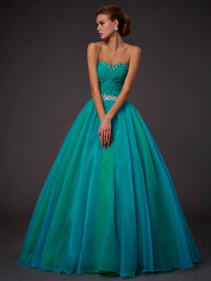 Ball Gown Sweetheart Beading Pleats Floor Length Tulle Dress