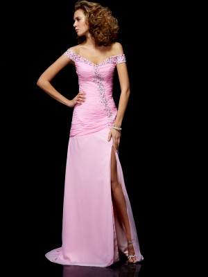 Beading A Line Princess off the shoulder Chiffon Evening Gown