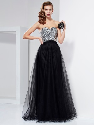 A Line Princess Floor Length Strapless crystal beaded Elastic Woven Satin Evening Gown