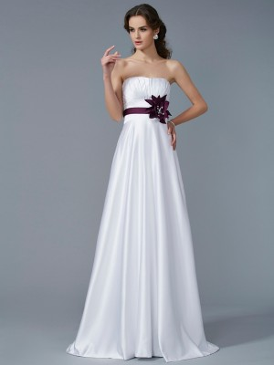 A Line Princess Strapless Hand Made Flower Satin Sweep Brush Train Evening Gown