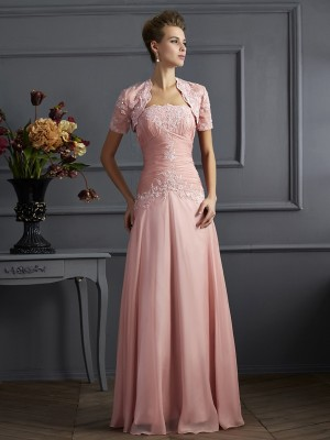 Column Strapless Chiffon Mother of the Bride Outfits