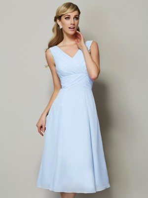 A Line Princess V-Neck Pleats Tea Length Chiffon Bridesmaid Gown