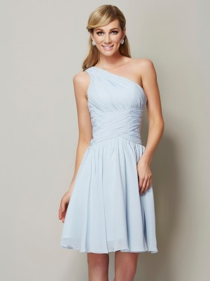 A Line Princess One Shoulder ruched Mini Chiffon Bridesmaid Gown