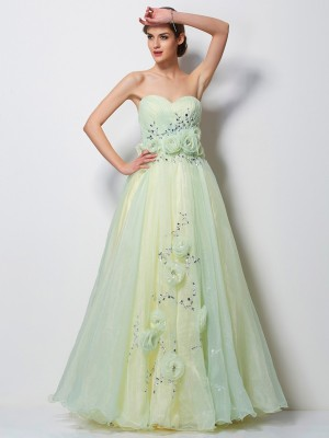 A Line Princess Sweetheart Beading Floor Length Tulle Evening Gown