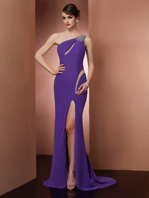 A Line Princess One Shoulder Beading Sweep Brush Train Chiffon Prom Dress