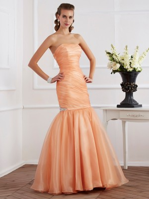 Mermaid Strapless Beading Tulle Floor Length Evening Wear