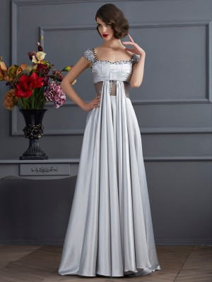 A Line off the shoulder Pleats Elastic Woven Satin Evening Wear