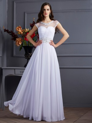 A Line Princess Chiffon Bateau Short Sleeves Floor Length Beading Evening Gown