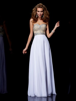 A Line Sweetheart Beading Floor Length Chiffon Prom Dress