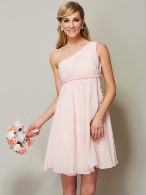 A Line Princess One Shoulder Knee Length Chiffon Bridesmaid Dress