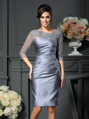 Sheath Scoop Beading 1/2 Sleeves Knee-Length Satin Mother of the Bride Outfits