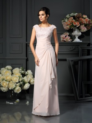 A-Line Scoop Floor-Length Lace Chiffon Mother of the Bride Outfits