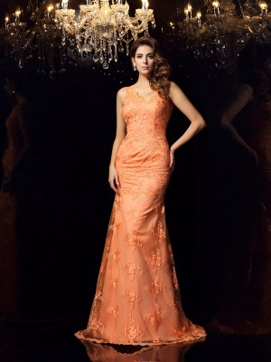Mermaid Straps Satin Lace Sweep/Brush Train Evening Gown