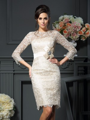Sheath Scoop Bowknot 3/4 Sleeves Short Lace Mother of the Bride Outfits