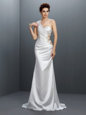 Mermaid One-Shoulder Beading Sweep/Brush Train Elastic Woven Satin Evening Dresses