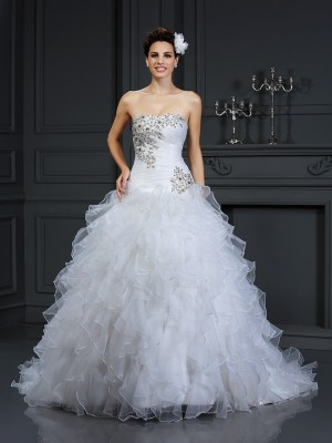 Ball Gown Strapless Beading Chapel Train Organza Wedding Gowns