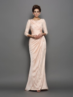 Mermaid 3/4 Sleeves Bateau Lace Chiffon Sweep/Brush Train Evening Gown