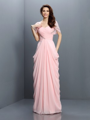 A-Line Sweetheart Short Sleeves Pleats Floor-Length Chiffon Bridesmaid Gown