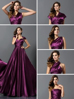 A-Line Pleats Silk like Satin Floor-Length Convertible Dress