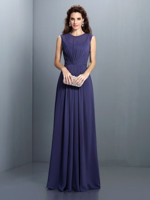 A-Line High Neck Pleats Floor-Length Chiffon Party Dress
