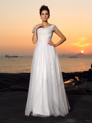 A-Line Short Sleeves Off-the-Shoulder Beading Tulle Floor-Length Bridal Gown