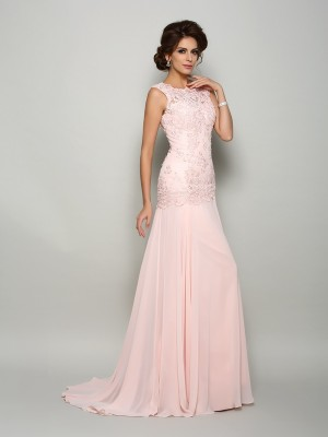 Mermaid Scoop Sweep/Brush Train Chiffon Beading Mother of the Groom Dress