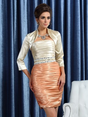 Sheaths Strapless Silk like Satin Ruched Knee-Length Mother of the Groom Dress